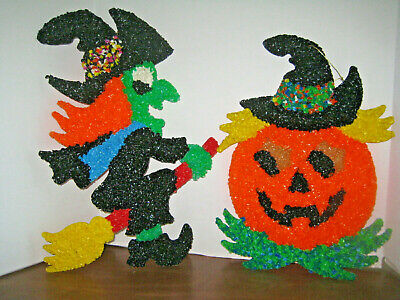 $ CDN28.42 • Buy Vintage Halloween Melted Popcorn Plastic Witch And Jack - O - Lantern  Pumpkin