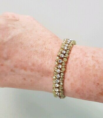 £8 • Buy ACCESSORIZE BRACELET Stretch GREEN GOLD TONE White Crystal Elasticated WORN ONCE