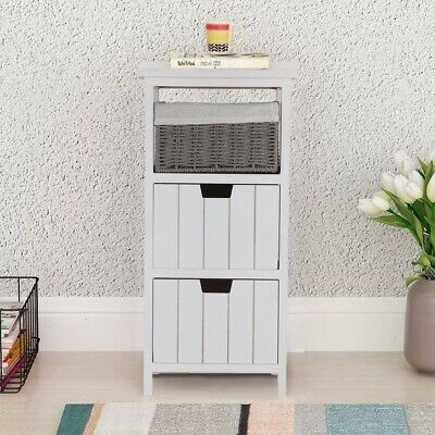 Storage Cabinet Wooden Bedside Unit Table With Wicker Basket Drawer Bathroom UK • 39.29£