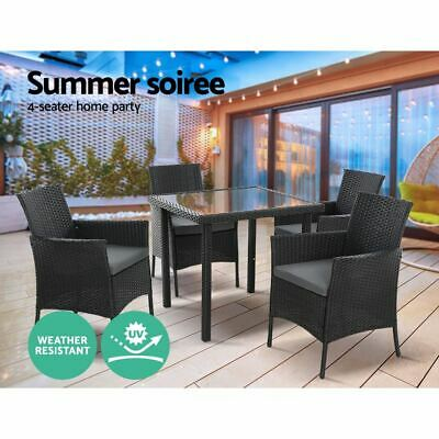 AU509.95 • Buy 5-Piece Outdoor Dining Set Patio Garden Furniture PE Wicker Table And Chairs