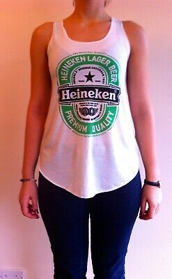 HEINEKEN IVORY Tshirt Vest Tank Top DUTCH Lager Beer  T-shirt NEW LADIES GIRLS • 3.99£