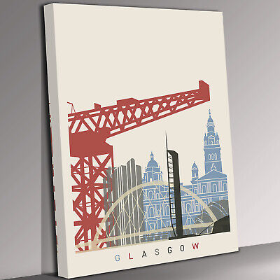 £17.99 • Buy Glasgow Skyline Canvas Wall Art Picture Print