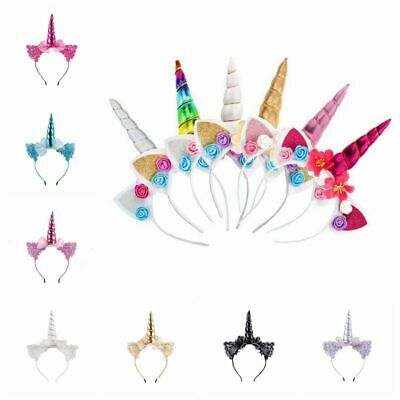 AU4.59 • Buy Girl Unicorn Horn Headband Hair Clip Headwear Flower Headdress Cosplay Costume
