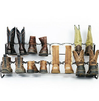 $ CDN280.70 • Buy Rustic Double Decker Horseshoe Boot Rack - 8 Pairs - The Heritage Forge
