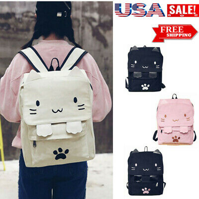 $38.36 • Buy 4 Colors Kids Student School Girls Cat Cartoon Bag School Bags Canvas Backpack