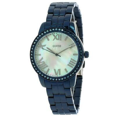 $ CDN88.81 • Buy Guess Women's Blue Tone Mother-of-Pearl Dial Crystal Glits Watch