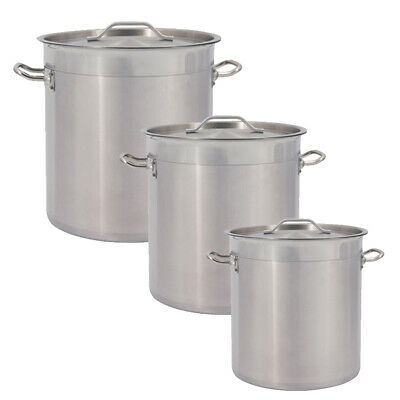 £89 • Buy Deep Stainless Steel Stock Pot Cater Cooking Stew Large Soup Boiling Pan &Lid