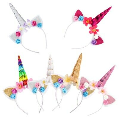 AU4.69 • Buy Girls Unicorn Horn Headband Hairband Birthday Party Fancy Dress Headwear Costume