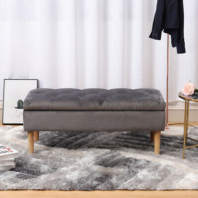 Extra Large Bedroom Storage Ottoman Box Stool Bed End Bench Chair Velvet Tufted • 69.95£