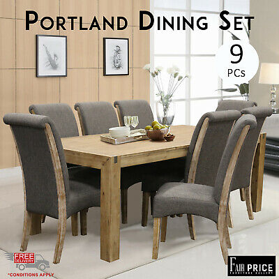 AU2731 • Buy New Luxury 9 Pcs Solid Acacia Timber Portland Dining Table Chair Set, Espresso