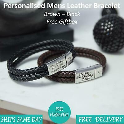 Rome Brown Black Leather & Stainless Steel Mens Personalised Engraved Bracelet • 14.99£