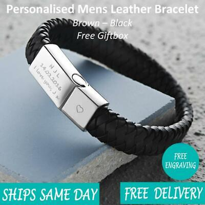 Vienna Brown Black Leather & Stainless Steel Mens Personalised Engraved Bracelet • 14.99£