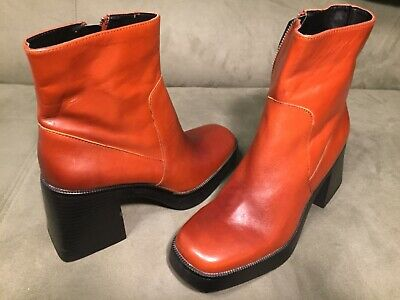 Zara TRF Womans Brown Chunky Heel Boots Size US 7.5 EU 38 New • 34.99$