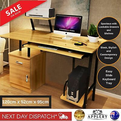 AU172.40 • Buy High Gloss Deluxe Computer Desk Workstation Drawers Shelves Home Office Study