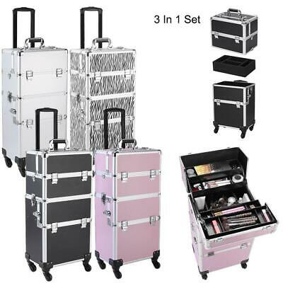 3 In 1 Aluminum Rolling Makeup Train Case Professional Beauty Cosmetic Trolley • 67.99$