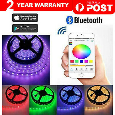 AU19.90 • Buy RGB LED Strip Lights IP65 Waterproof 5050 5M 300 LEDs 12V + Bluetooth Receiver