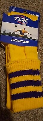 $4.50 • Buy NEW TCK Soccer Socks Size Large Yellow With Purple Stripe Twin City