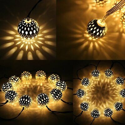 Twinkle Star 13.5 Ft 40 Led Globe String Lights, Sliver Moroccan Party Hanging L • 24.29$