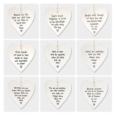 East Of India White Porcelain Heart With Sayings Sign Family & Friends Gift 10cm • 5.99£