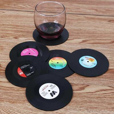 6 Vinyl Style Drinks Coasters Place Mats Bar Set Retro Vintage Record Discs • 4.99£
