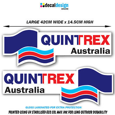 AU32 • Buy Quintrex Style Boat Decal Set 42cm Wide Gloss Laminated Vinyl Stickers X 2 #Q001