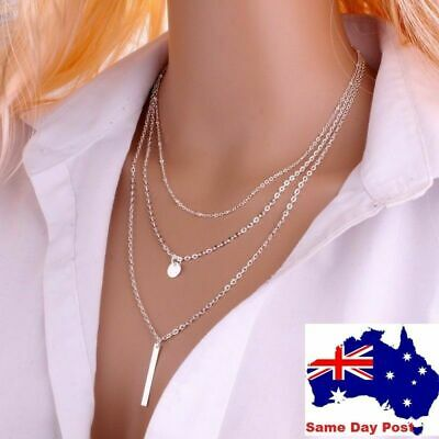 AU5.95 • Buy Womens 3 Multi Layer Gold Or Silver Plated Necklace Pendant Drop Necklace Chain