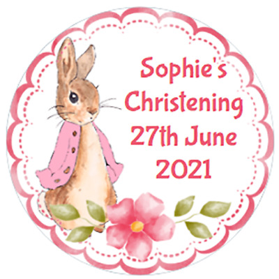 £3.75 • Buy 48 Personalised Christening Baptism Stickers FLOPSY BUNNY  40mm Labels