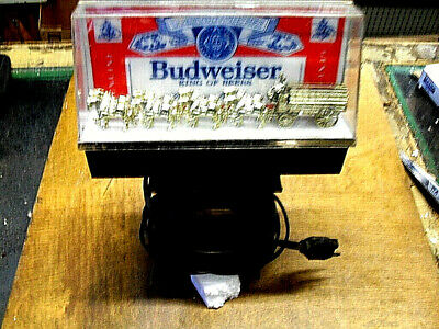 $ CDN123.82 • Buy Vintage 1980's ?~ Budweiser Clydesdale Horses Wagon Lighted Bar Display