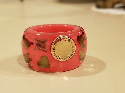 £46.41 • Buy Marc By Marc Jacobs Pink & Gold Chunky Resin Plastic Band Ring Size 5.5