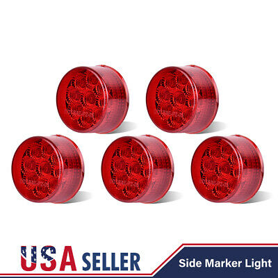 5X Red 2  LED Round Clearance Side Marker 9 Diodes 12V Light Lamp Car Truck RV • 18.40$