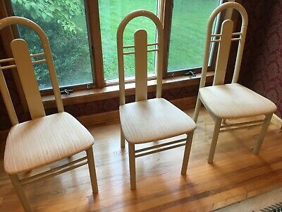 $398 • Buy FOUR Vintage/Retro Ivory Color ITALIAN 4 Dining Table Side CHAIRS Made In Italy