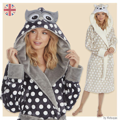 Ladies Animal Themed Spotted Hooded Dressing Gown Polka Dots Girls Robes Dotted • 22.99£