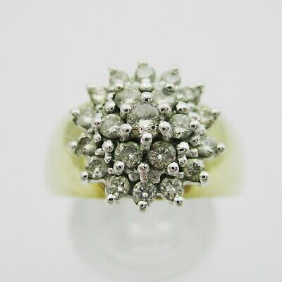Nice 9ct Gold & Diamond Cluster Ring. 0.5 Carats. Size N • 168£