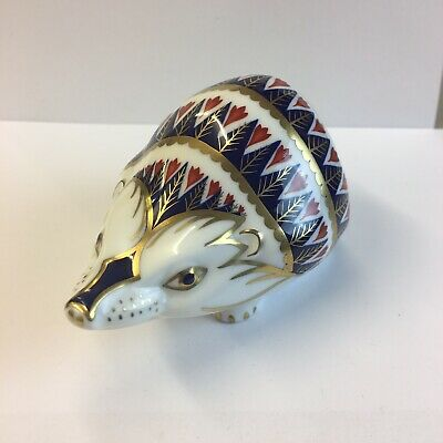 £69 • Buy Royal Crown Derby Paperweight Hedgehog Gold Stopper 6cm In Height