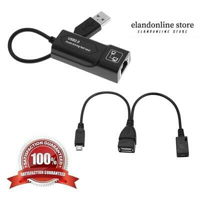 USB2.0 To RJ45 Ethernet Adapter LAN Network Converter With Dual Micro USB For PC • 4.99$