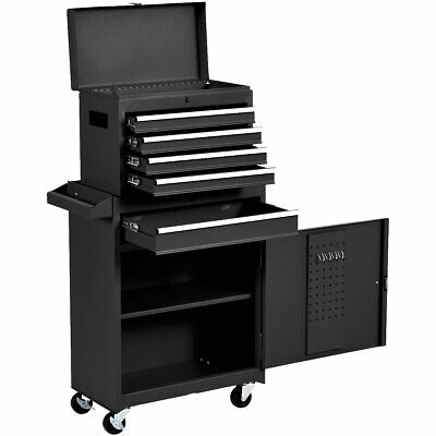 View Details 2 In 1 Utility Rolling Tool Organize Cabinet Box Tool Chest Sliding Drawer Black • 129.99$