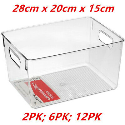 AU29.95 • Buy Large Crystal Clear Plastic Container W Carry Handle Fridge Pantry Storage 28cm