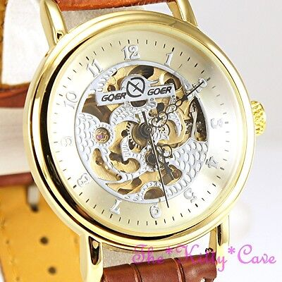 £36.94 • Buy Traditional Gold Mechanical Hollow Skeleton Steampunk Tan Leather Wind-up Watch