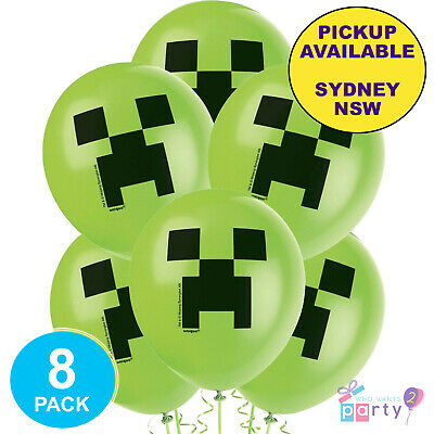AU12 • Buy Minecraft Gaming Party Supplies 8 Latex Balloons Video Game Birthday Decorations