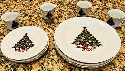 $49 • Buy 12 Piece Holiday Dishes Christmas Tree - 4 Dinner Plates/Medium Plates/Cups