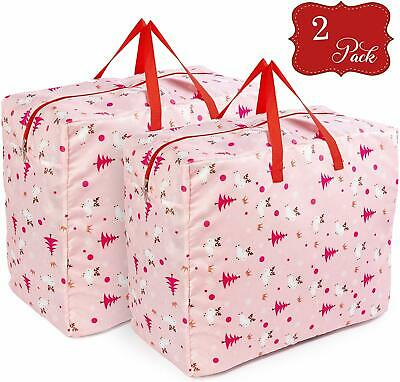 2 Pack Christmas Storage Bags Wrapping Paper Tree Decor Ornaments Tidy Organiser • 13.99£