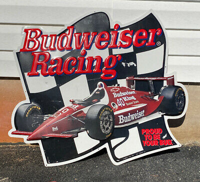$ CDN106.43 • Buy Vintage 1980s-90s Budweiser Racing Car Embossed Metal Sign By Allan Morrison?