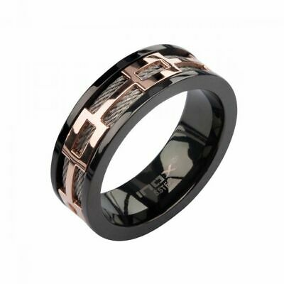 $36.97 • Buy Men's Stainless Steel Cable In Rose Gold Plated Window In Black Plated Spinner P