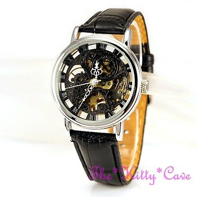 £32.64 • Buy Silver Mechanical See-Thru Steampunk Skeleton Black Leather Wind-Up Unisex Watch