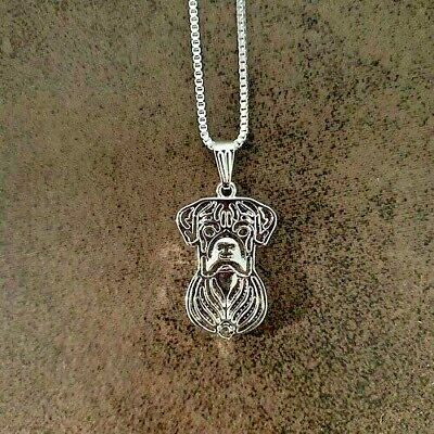Boxer Dog Pendant With 18  Silver Necklace With Free Gift Bag • 8.95£