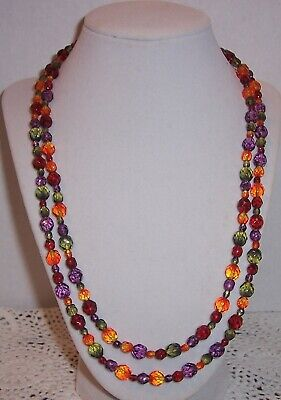 Joan Rivers  Multi Color  Czec Faceted Glass Bead Necklace 45''endless  #20 • 8.99$