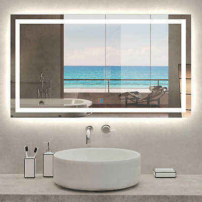 Large Bathroom Wall Mirror With LED Lights,Demister | Touch Sensor | Rectangular • 74.99£
