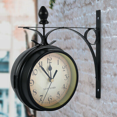 AU27.64 • Buy Double Side Wall Clock Outdoor Garden Central Station Mounted With Bracket