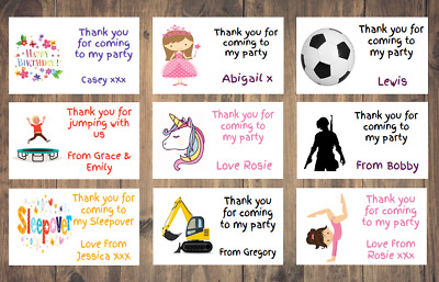 Personalised Birthday Stickers Labels Thank You For Coming To My Party Cone Bag • 2.25£