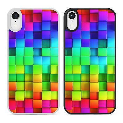 RAINBOW CUBES Coloured Blocks Pattern Phone Case Cover For IPhone Samsung Galaxy • 6.39£